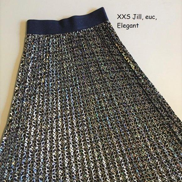 XXS Lularoe Jill pleated skirt, Elegant silver